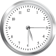 A clock depicting a time of 5:30 and 15 seconds.